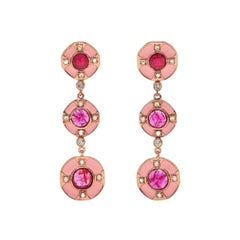Pink Ruby Diamond Enamel Cirque Drop Earrings