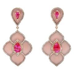 Pink Ruby Enamel Diamond Chandelier Earrings