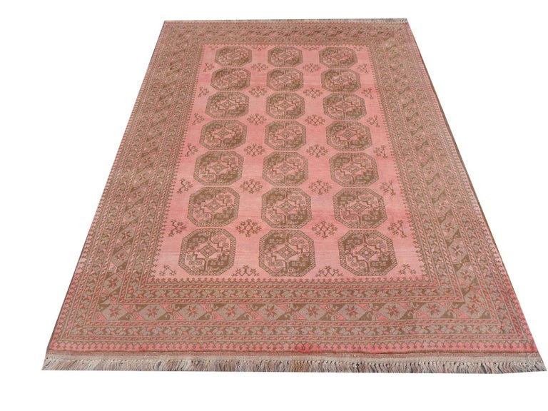 Pink Rug Ersari Tribal Turkoman Hand Knotted Semi Antique Carpet For Sale 3