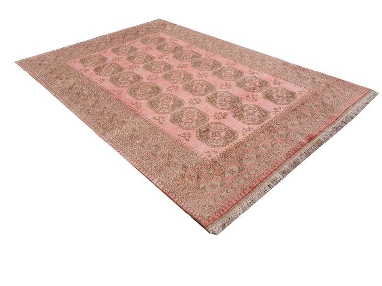 Pink Rug Ersari Tribal Turkoman Hand Knotted Semi Antique Carpet For Sale 4