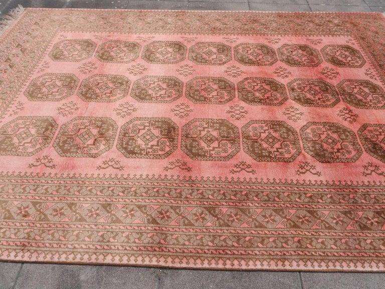 Pink Rug Ersari Tribal Turkoman Hand Knotted Semi Antique Carpet For Sale 5