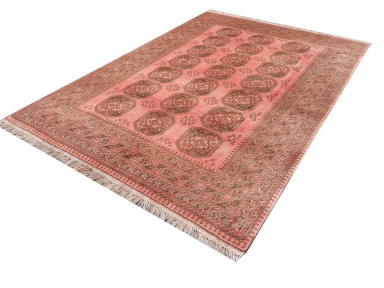 Pink Rug Ersari Tribal Turkoman Hand Knotted Semi Antique Carpet For Sale 6