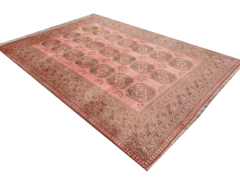 Pink Rug Ersari Tribal Turkoman Hand Knotted Semi Antique Carpet For Sale 7
