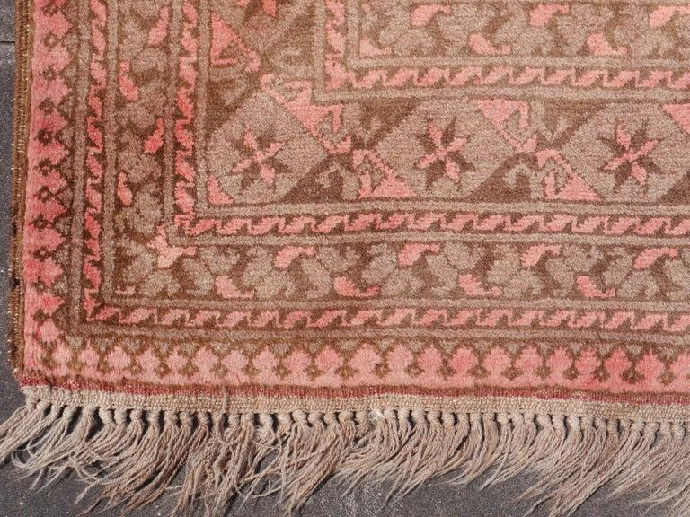 Pink Rug Ersari Tribal Turkoman Hand Knotted Semi Antique Carpet For Sale 8