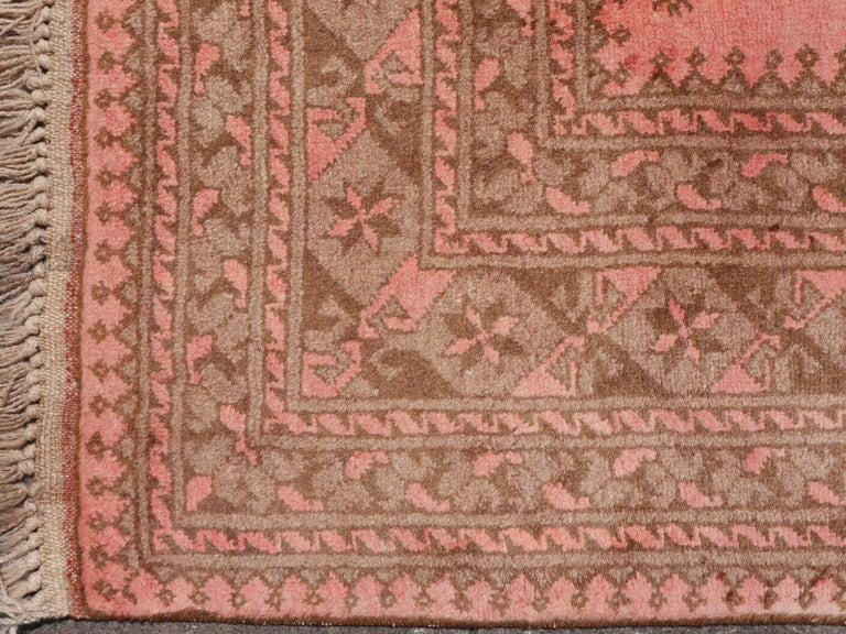 Pink Rug Ersari Tribal Turkoman Hand Knotted Semi Antique Carpet For Sale 10