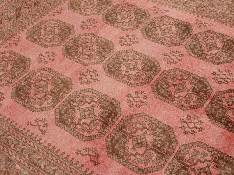 Pink Rug Ersari Tribal Turkoman Hand Knotted Semi Antique Carpet For Sale 11