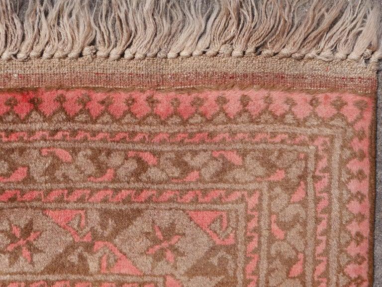 Pink Rug Ersari Tribal Turkoman Hand Knotted Semi Antique Carpet For Sale 12