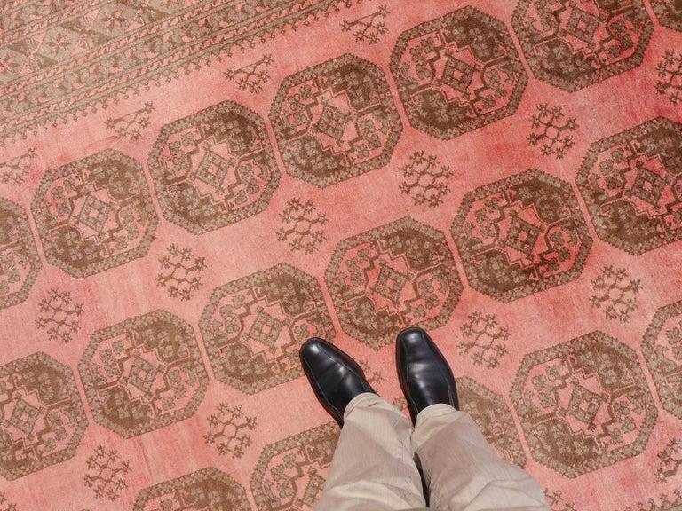 Pink tribal rug Afghan Ersari Turkoman or Turkmen rug,