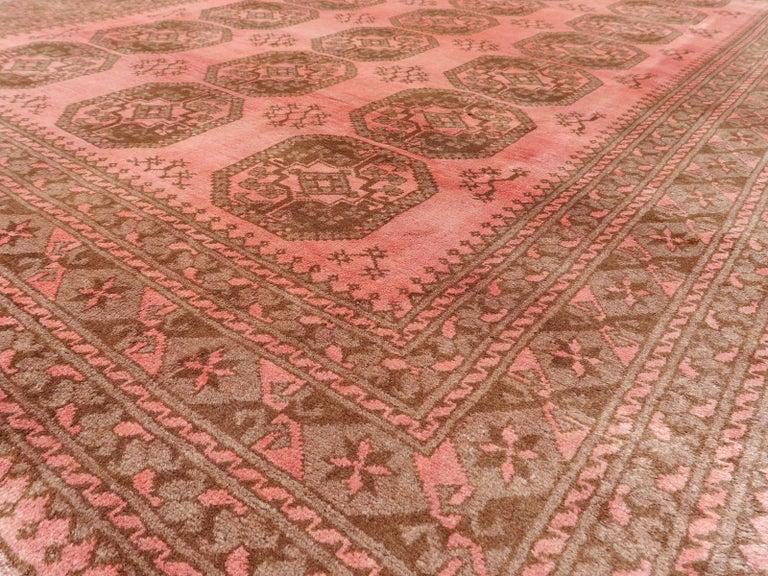 Afghan Pink Rug Ersari Tribal Turkoman Hand Knotted Semi Antique Carpet For Sale