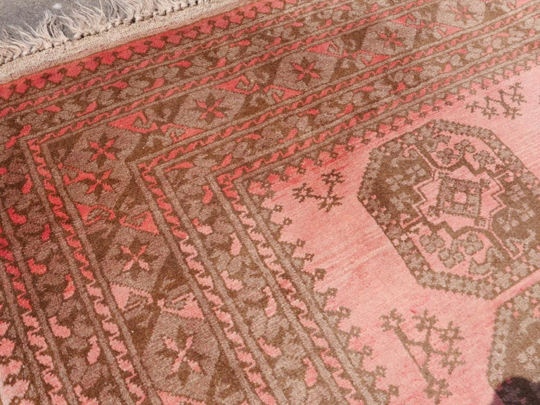 Hand-Knotted Pink Rug Ersari Tribal Turkoman Hand Knotted Semi Antique Carpet For Sale