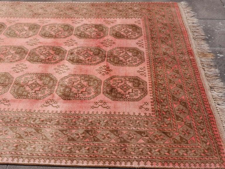 20th Century Pink Rug Ersari Tribal Turkoman Hand Knotted Semi Antique Carpet For Sale