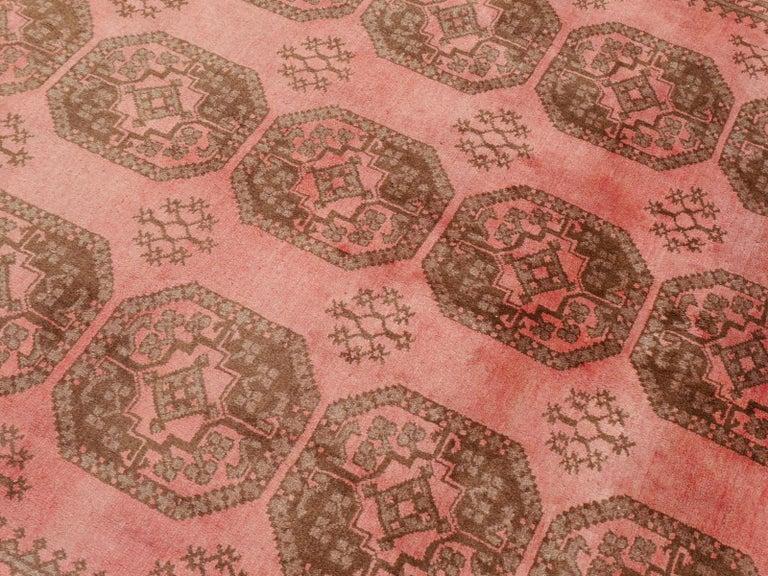 Wool Pink Rug Ersari Tribal Turkoman Hand Knotted Semi Antique Carpet For Sale