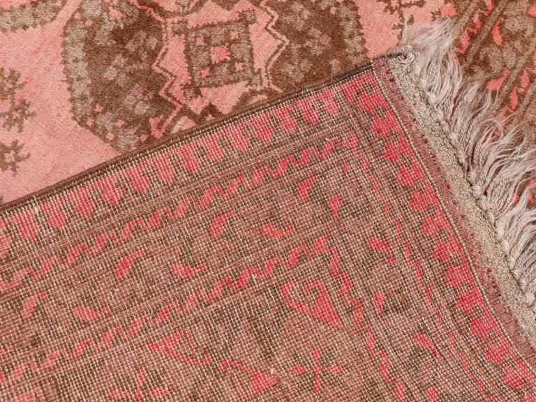Pink Rug Ersari Tribal Turkoman Hand Knotted Semi Antique Carpet For Sale 1