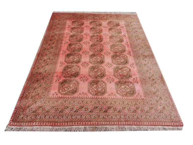 Pink Rug Ersari Tribal Turkoman Hand Knotted Semi Antique Carpet For Sale 2