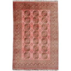 Pink Rug Ersari Tribal Turkoman Hand Knotted Semi Antique Carpet