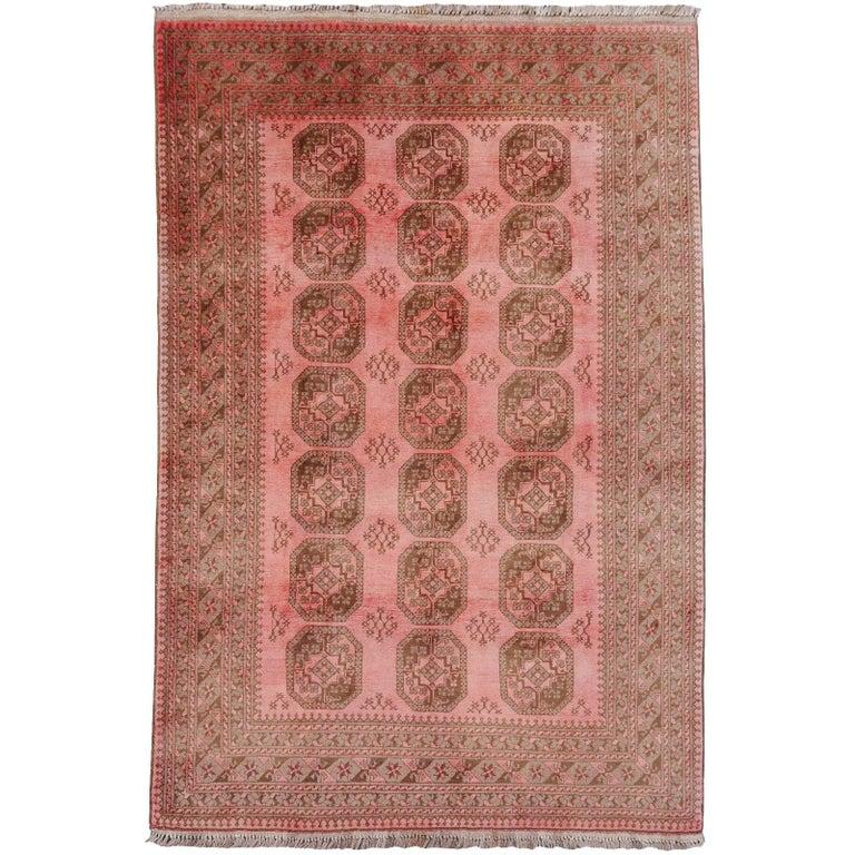 Pink Rug Ersari Tribal Turkoman Hand Knotted Semi Antique Carpet For Sale