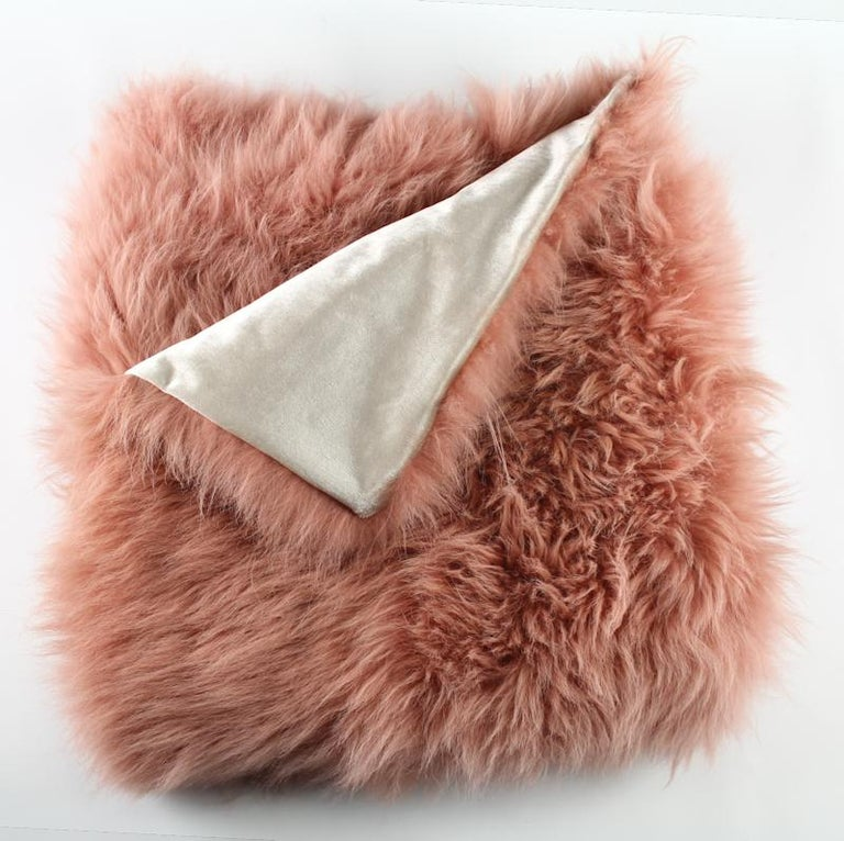 Hollywood Regency Pink Rust Cashmere Fur Chair Sofa Throw Blanket For Sale