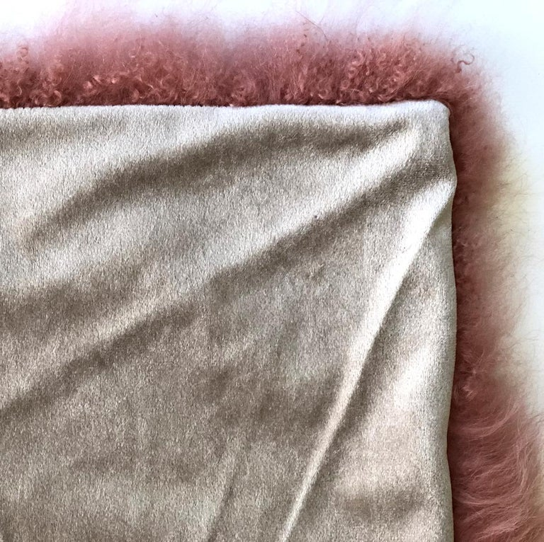 Pink Rust Cashmere Fur Chair Sofa Throw Blanket In New Condition For Sale In Dural, AU