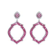 Pink Sapphire 18 Karat White Gold Mauresque Drop Earrings Natalie Barney