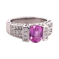 Pink Sapphire 2.09 Carat and Diamond White Gold Ring