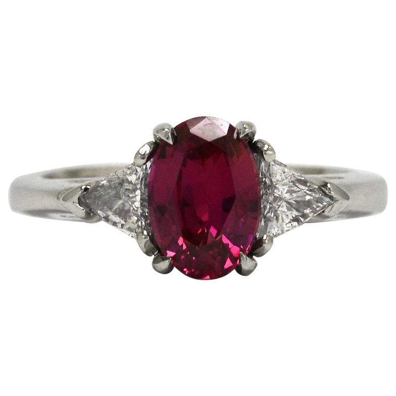 Pink Sapphire 3-Stone Engagement Ring Oval Trinity Estate Diamond Platinum