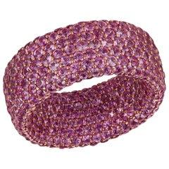 Pink Sapphire 8.70 Carat Inside or Outside 18 Karat Gold 5-Row Ring