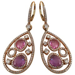 Pink Sapphire Amethyst Diamond on Rose Gold Earrings Ear Pendants