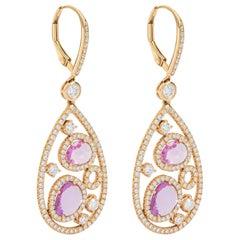 Pink Sapphire Amethyst Diamond on Rose Gold Earrings Ear Pendants