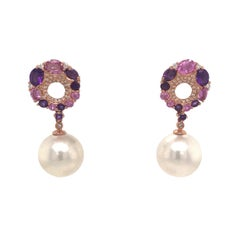 Pink Sapphire Amethyst Freshwater Pearl Drop Earrings 3.40 Carat 18 Karat Gold