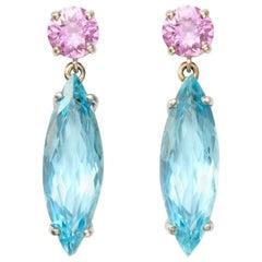 Pink Sapphire and Aquamarine Dangle Earrings