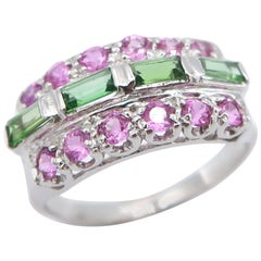 Pink Sapphire and Baguette Green Tsavorite Striped Band Ring in 18K White Gold