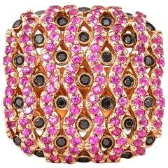 Pink Sapphire and Black Diamond Ring in 14 Karat Rose Gold