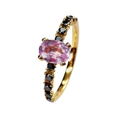 Pink Sapphire and Black Diamonds Solitaire Ring Set in 18 Karat Yellow Gold