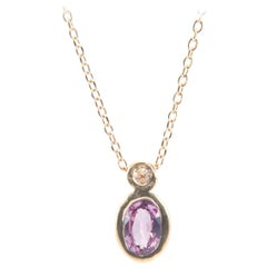 Pink Sapphire and Cognac Diamond Duo Necklace