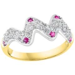 Pink Sapphire and Diamond 14 Karat White Gold Band Ring, Estate