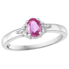Pink Sapphire and Diamond 14 Karat White Gold Ring, Estate Size 6.5