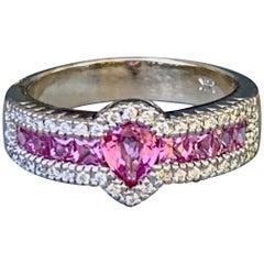 Pink Sapphire and Diamond 14 Karat White Gold Ring - Size 8 1/4