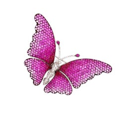Pink Sapphire and Diamond 18 Karat White Gold Butterfly Brooch