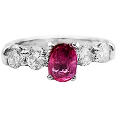 Pink Sapphire and Diamond 5-Stone Engagement 2.20 Carat Solitaire Ring