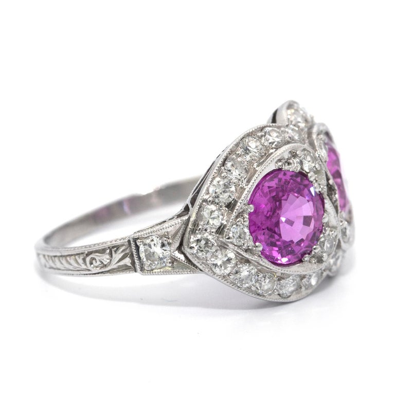Brilliant Cut Pink Sapphire and Diamond Art Deco Style Ring For Sale
