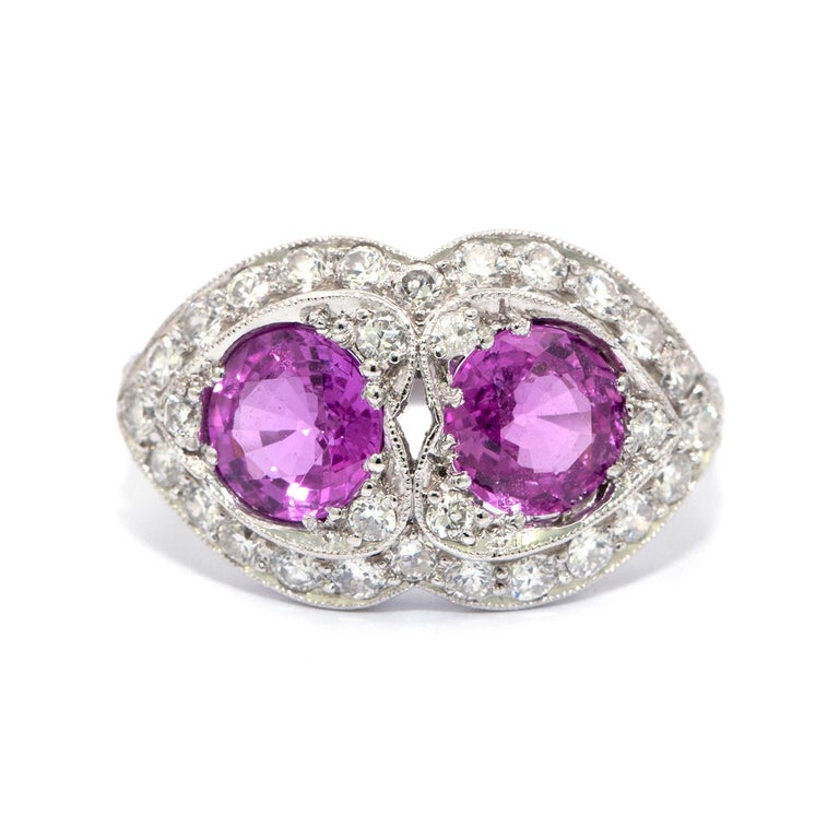 Women's Pink Sapphire and Diamond Art Deco Style Ring For Sale