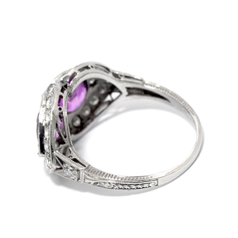 Pink Sapphire and Diamond Art Deco Style Ring For Sale 1