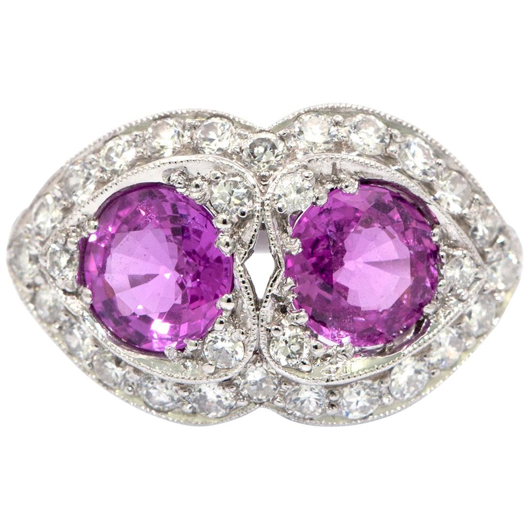 Pink Sapphire and Diamond Art Deco Style Ring