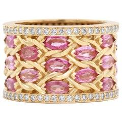 Pink Sapphire and Diamond Band Ring Yellow Gold Stambolian