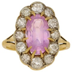 Pink Sapphire and Diamond Cluster Dress / Engagement Ring Set in 18k Yellow Gold