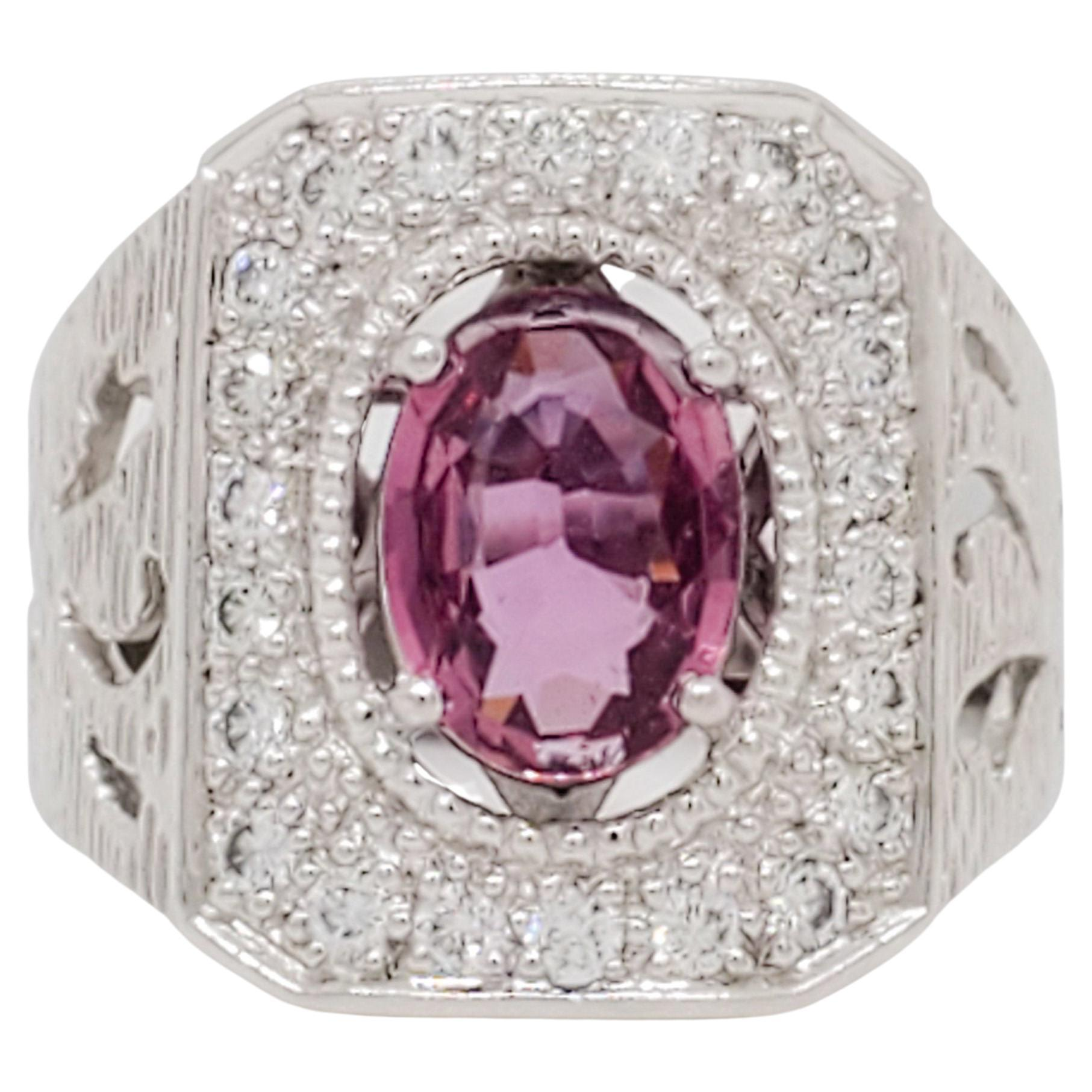 Pink Sapphire and Diamond Cocktail Ring in Platinum