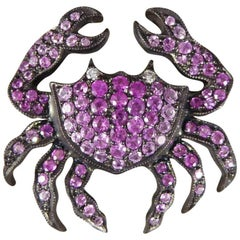 Pink Sapphire and Diamond Crab Pendant and Brooch