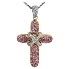 Pink Sapphire and Diamond Cross Necklace