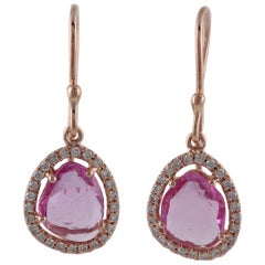 Pink Sapphire and Diamond Dangle Earring
