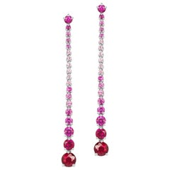 JAG New York Pink Sapphire and Diamond Dangle Earrings set in Platinum